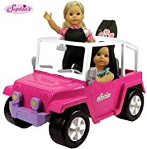 Doll Car, 4x4 Doll Beach Cruiser for 18 Inch Dolls Like American Girl, Fits Two 18 Dolls. Dolls and Doll Clothes and Doll Boogie Board Not Included