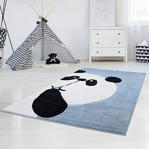 carpet city Kinderteppich Flachflor Bueno Panda-Bär in Blau mit Konturenschnitt für Kinderzimmer; Größe: 80x150 cm
