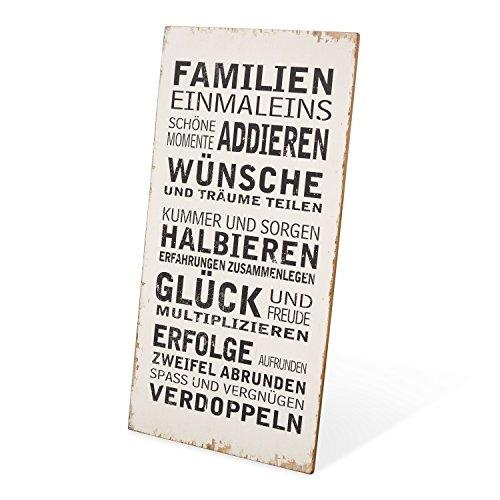 Loberon Dekoboard Einmaleins, MDF/Eisen, H/B ca. 70/35 cm, antikweiß