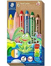 STAEDTLER Noris Junior, Lápiz de color extra grueso 3 en 1: lápiz de color, cera y lápiz acuarelable. Estuche con 6 lápices de colores surtidos + afilalápices (140 C6 ST)