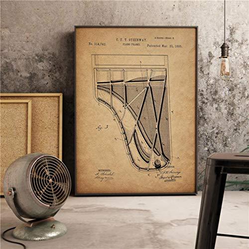 lubenwei Stampe per Pianoforte Vintage Steinway Decor Musica Arte Retro Soggiorno Pittura Decorazioni per la casa Vivaio Camera dei Bambini Poster su Tela 40x60cm Nessuna Cornice (WA-1304)