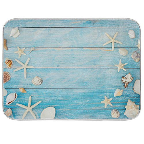OTVEE Seashells Starfish On Blue Wood Dish Drying Mat Pad for Kitchen Counter Absorbent Microfiber Heat Resistant Counter Portector with Hanging Loop,Machine Washable,16x18inch
