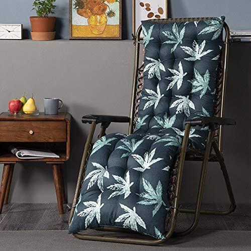 Topstylehouse Cojín reclinable para tumbona, suave, grueso, transpirable, mecedora, cómoda, duradera, para silla de jardín, tumbona, sillón reclinable (hoja negra, 48 x 170 cm, 1 unidad)