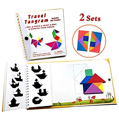 Travel Tangram Puzzle - Magnetic Pattern Block Book Road Trip Game Jigsaw Shape for Kids Toddlers Challenge IQ Educational Toy Gift Brain Teasers 360 Patterns【2 Set of Tangrams】