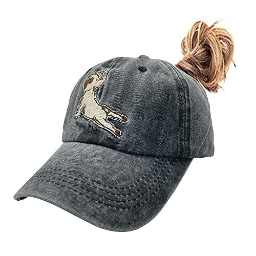 NVJUI JUFOPL Women's French Bulldog Yoga Ponytail Baseball Cap Embroidered Vintage Dad Hat Black