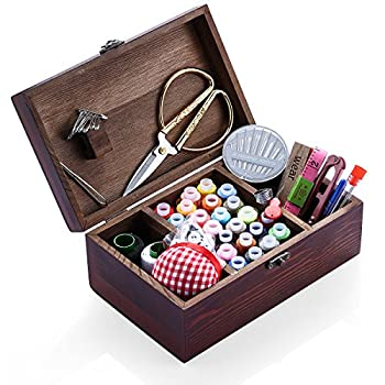 Wooden Sewing Kit Sewing Boxes Organizer with Accessories Kit Sewing Kit Baskets for Beginners/Adults/Kids/Women/Men