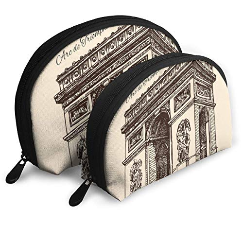 Arc De Triomphe Tragbare Taschen Clutch Pouch Münzgeldbörse Kosmetische Reisetasche One-Big und One-Small 2-teiliges Briefpapier Bleistift Multifunktions-Tasche Child Wallet Key Case Handtasche