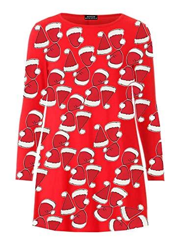 RIDDLED MET STYLE Womens Sneeuwman Kerstmis Swing Jurk Dames Xmas Party Wear Stretchy Jurk