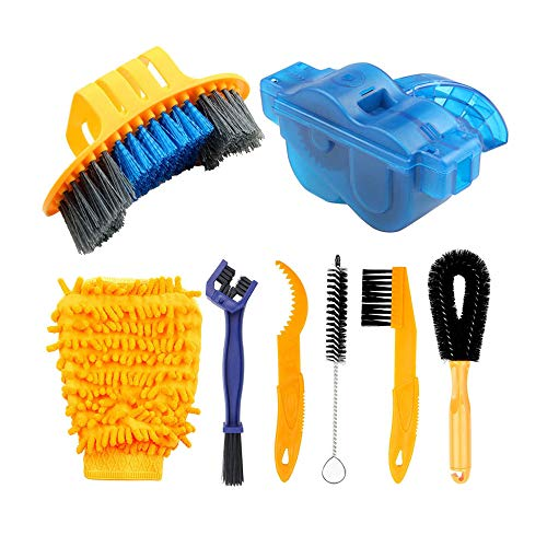 DRCKHROS 8 Pieces Bike Cleaning kit Tools Maintenance Including Bike Chain Scrubber, Suitable for Mountain, Road, City,BMX Bike and Folding Bike Accessories