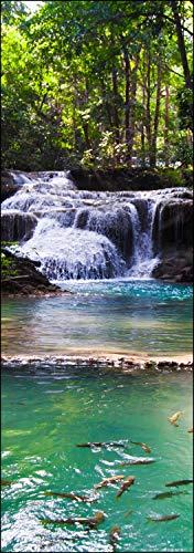 wandmotiv24 Türtapete Erawan Wasserfall, Thailand 70 x 200cm (B x H) - Dekorfolie selbstklebend Sticker für Türen, Tür-Bilder, Aufkleber, Deko Wohnung modern M1059