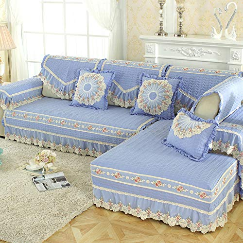 YUTJK Corner Sofa Cover,Furniture Cover,Brushed Washed Cotton Sofa Cushion with Lace Skirt,Summer Fabric Sofa Towel,Bedroom Autumn Non-slip Sofa Cover-Sky blue_60x210cm+17cm