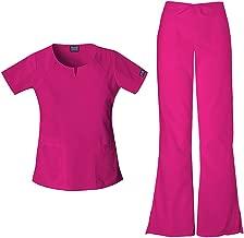 Cherokee Workwear Originals Women's Scrub Set - 4824 Round Neck Top & 4101 Natural Rise Flare Leg Drawstring Pant