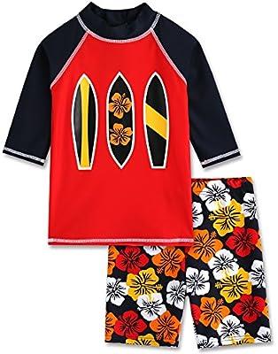 VAENAIT BABY 2T-7T Infant Boys Rashguard Swimsuit Red Surfing M