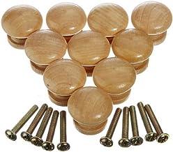 Cabinet Knobs, Dealglad 10pcs 24mm Round Wood Drawer Knobs Cupboard Wardrobe Door Pull Handles Furniture Hardware