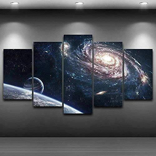 GDFGSD Cuadros dormitorios Modernos Lienzo Decorativos 5 Piezas Espacio Exterior Planeta Universo Impresión Decoracion Salon Modernos Mural Pared el baño con Marco Tamaño 150 * 80cm