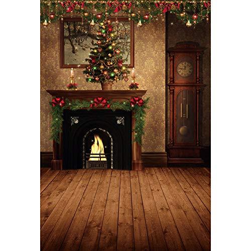 YongFoto 1,5x2,2m Weihnachten Hintergrund Kamin Weihnachtsbaum Dekor Alte Wanduhr Wunderschöne Wallpaper Bild Holzboden Hintergrund Fröhliche Weihnachten Vorabend Porträt Produkt Fotografie Foto