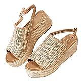 Minetom Damen Sandalen Sommer Casual Flach Wedge Schuhe Bequeme Peep Toe Strand Urlaub Elegant Geflochtene Sandalen Beige 38 EU
