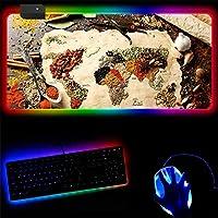 マウスパッド キッチンシーズニングゲーミングRGBラージマウスパッドゲーマーコンピューターマウスパッドLEDバックライトキーボードデスクマット 30x35cm