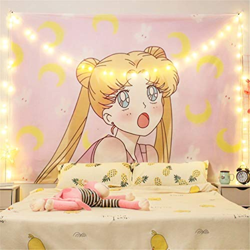 Ailansnug Japanese Anime Sailor Moon Tapestry Cute Pink Tapestry Anime Wall Hanging Decorations for Living Room Bedroom Home Decor 51