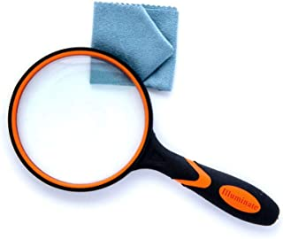 Magnifying Glass 3X Magnifier (Orange) for Seniors & Kids, 100Mm Large Magnifying Lens with Non-Slip Soft Rubber Handle for Reading Books, Inspection, Coins, Insects, Maps, Crossword Puzzles
