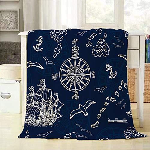 Mugod Pirate Adventures Throw Blanket Marine and Nautical