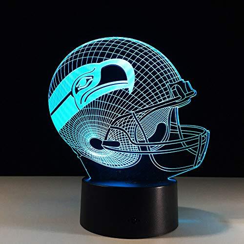 Seattle Seahawks LED-Illusionslicht, optischer Nachttisch 3D Nachtlicht Beleuchtung Kinderlampe Schlaf Beleuchtung 7 Farbe Touch-Taste dekorative Tischlampe