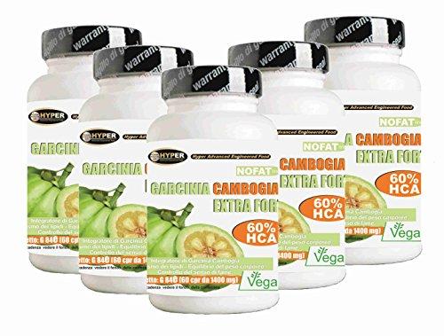 Garcinia Cambogia Extra Forte 1000 5 Confezioni 60 Compresse Bruciagrassi Favorisce la Perdita di Peso 60% di HCA Anti Fame Riduce Appetito NO Glutine 100% Naturali Vegan
