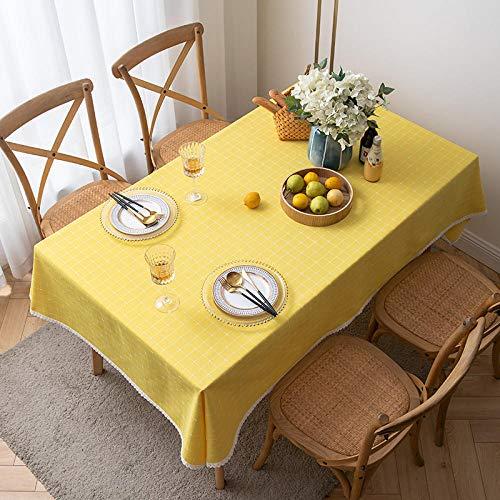 Kuingbhn Manteles de Mesa Rectangular Efecto para Cocina Embroidery Cotton and Linen para Salón Cocina Comedor decoración de Mesa Yellow 140×200cm