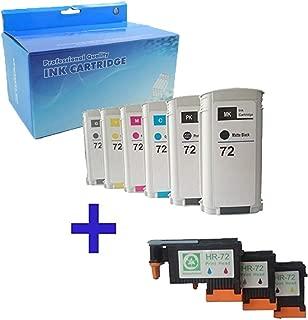 Tyjtyrjty Refurbished Printhead Replacement for HP72 Printhead Work with HP Designjet T610 T620 T770 T790 T1100 T1120 1200 T1300 T2300 Printer (3PK printhead+6PK Ink Cartridges)