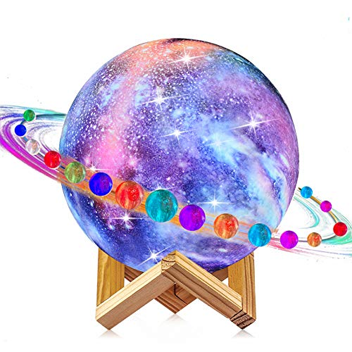 Moon Lamp, LOGROTATE 16 Colors Galaxy Light 3D Printing Starry Moon Night Light with Stand/Remote...