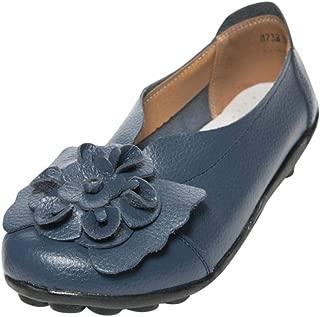 Zapatos de Vestir de Cuero Plano Chic para Mujer Otoño 2018 Moda PAOLIAN Zapatos Señora Suela Blanda Casual Fiesta Calzado Dama Cómodos con Floral Cuña Tallas Grandes Zapatillas