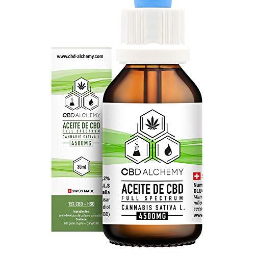 Aceite de CBD 30 ML | 15% Extracto, 600 Gotas 4500 MG, Mezcla De Aceite De Semillas De Cáñamo, Grandes Propiedades Curativas, Ayuda a la Relajación, Reduce el Estrés y la Ansiedad - Hecho en Suiza