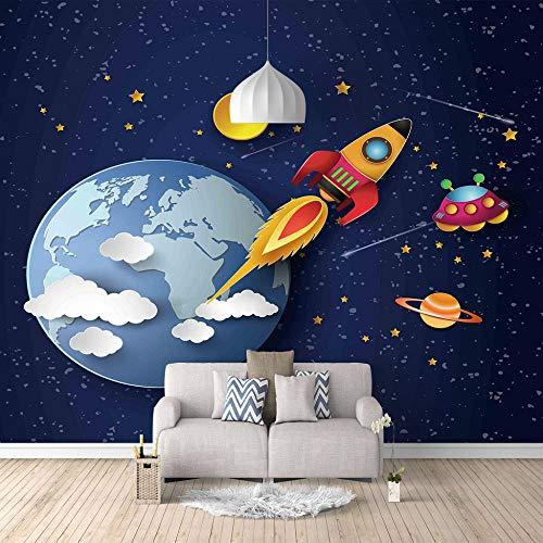 Fototapeten 3D Erde Rakete Moderne Vlies Wand Tapete Dekoration Für Schlafzimmer Wohnzimmer Kinderzimmer 250CMx175CM