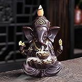 sdfpj Ganesha backflow Incienso Incienso Elefante Dios Emblema auspicioso y éxito cerámico Incienso Titular Aroma censher decoración del hogar artesanía (Color : Black)