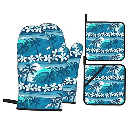 Mitones y almohadilla caliente, surf con guantes de horno de palmera y soportes para ollas, cómodos guantes de horno y agarraderas, juego de 4 hornos