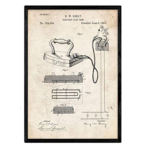 Nacnic Poster con patente de Plancha electrica. Lámina con diseño de patente antigua en tamaño A3 y con fondo vintage
