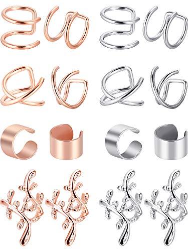 8 Paar Nicht Piercing Edelstahl Ohr Manschette Set Knorpel Manschette Clip Auf Ohrringe Gefälschte Ohr Manschette für Damen (Stahl und Rose Gold)