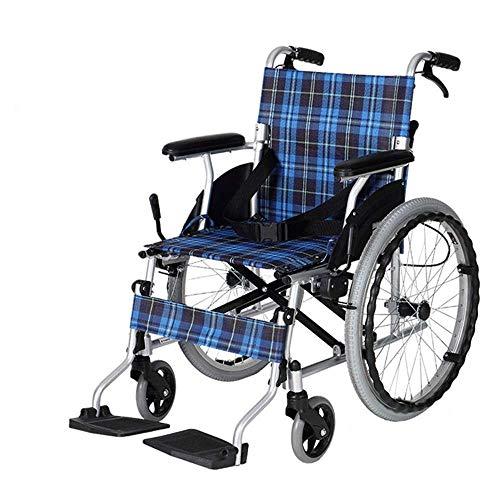 KANJJ-YU Silla médica de rehabilitación, sillas de ruedas, sillas de ruedas Lightweight 14Kg plegable Sillas de ruedas autopropulsada cómodo reposabrazos del asiento del respaldo 100Kg de carga de apo