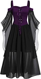 TOTOD Vintage Gothic Dress Halloween Cosplay Costume for Women Plus Size Cold Shoulder Flare Sleeve Lace Up Dress