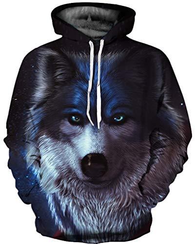 Ocean Plus Herren 3D Mehrfarbig Hoodie Schädel Kapuzenpullover Bunt Wolf Pulli Totenkopf Sweatshirt mit Kaputzen (XXL/3XL (Brustumfang: 126-146CM), Wolf)