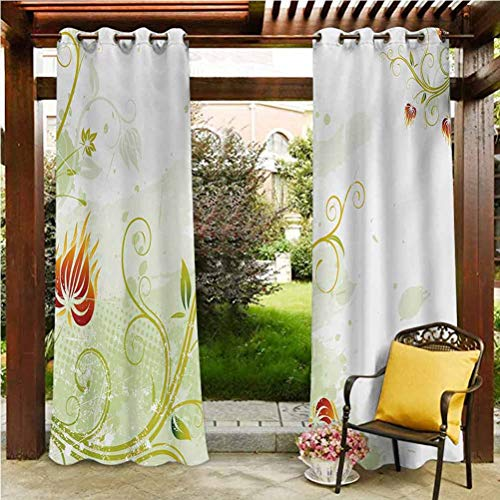 Floral Extra Long Curtains Outdoor Heat and Full Light Blocking Drapes Swirled Petals Lines on Grunge Background Retro Scroll Botany Design Pale Green Pistachio Ruby 108'W by 84'L(K274cm x G213cm)