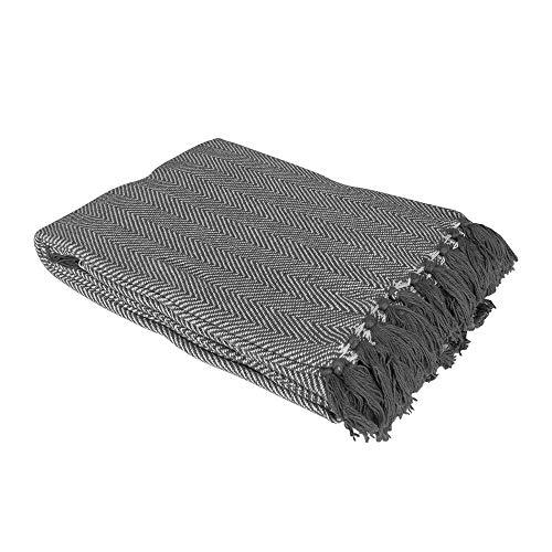 Country Club Como 100% bawełna narzuta/koc z wzorem w jodełkę 228 cm x 254 cm, szary, pojedynczy