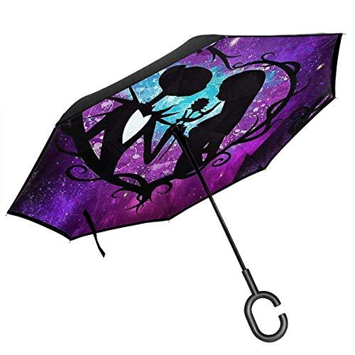 MAichengxuan Paraguas invertido de doble capa con mango en forma de C - Jack And Sally Pesadilla antes de Navidad Reverse Paraguas a prueba de viento Protección UV al revés Paraguas al revés