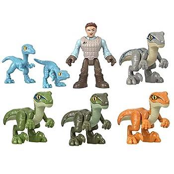 Imaginext Jurassic World Raptor Trainer Owen Gift Set - Collectible Edition ~ Includes Owen Figure and 6 Dinosaur Figures