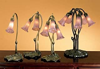 9 in. Pond Lily Accent Lamp (Cranberry)