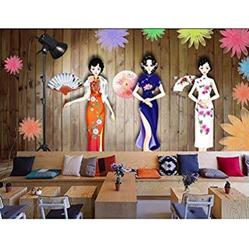 Zimmer Foto Wallpaper Wandbild Cheongsam Show Kleidung Display Dekoration Malerei 3D Wandbilder Imitation Seidentuch fototapete 3d Tapete effekt Vlies wandbild Schlafzimmer-200cm×140cm