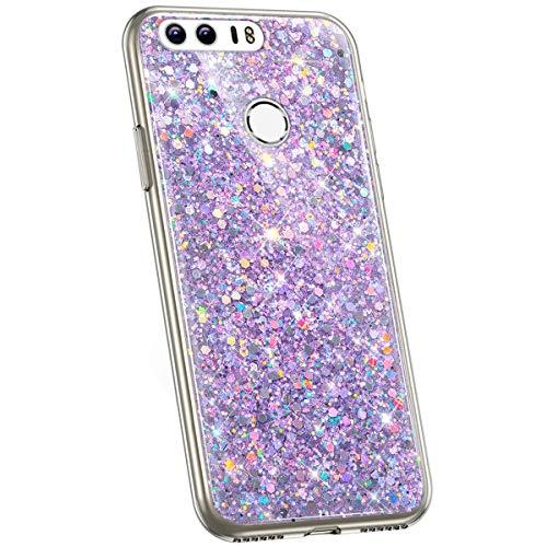 Jinghuash Kompatibel mit Huawei Honor 8 Hülle Glitzer Kristall Glänzend Strass Diamant Silikon Schutzhülle Ultra Dünn Crystal Clear TPU Silikon Handyhülle Tasche Case-Lila