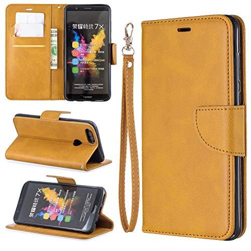 Carcasa de telefono Caso para Huawei Honor 7x Cartera multifuncional Teléfono Móvil Caja de cuero Premium Color Sólido PU Caja de cuero, Titular de la tarjeta de crédito Función Función Caja plegable