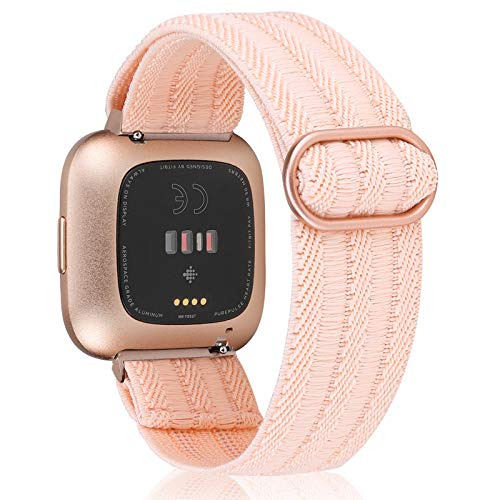 TOYOUTHS Compatible with Fitbit Versa 2 Bands Elastic Strap Replacement for Versa Lite Edition Adjustable Nylon Fabric Solo Loop Scrunchies Bracelet Stretchy Wristband Women Men (Rose Pink)
