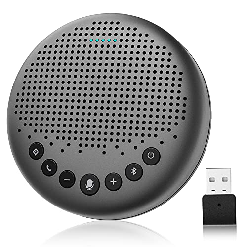 Bluetooth Speakerphone – eMeet Luna Computer Speakers with Microphone w/Enhanced Noise Reduction Algorithm, Daisy Chain, w/Dongle USB Speakerphone for Home Office, 360° Voice Pickup for 8 People